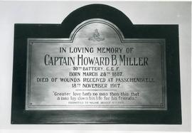 Memorial plaque, Howard Miller
