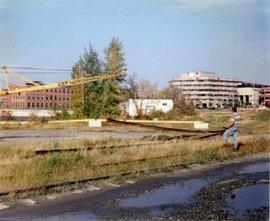 Removing rails behind Sherbrooke Railway Station